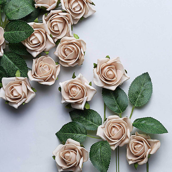"24 Pcs | 2"" Champagne Foam Rose With Stem And Leaves - 16 Colors"