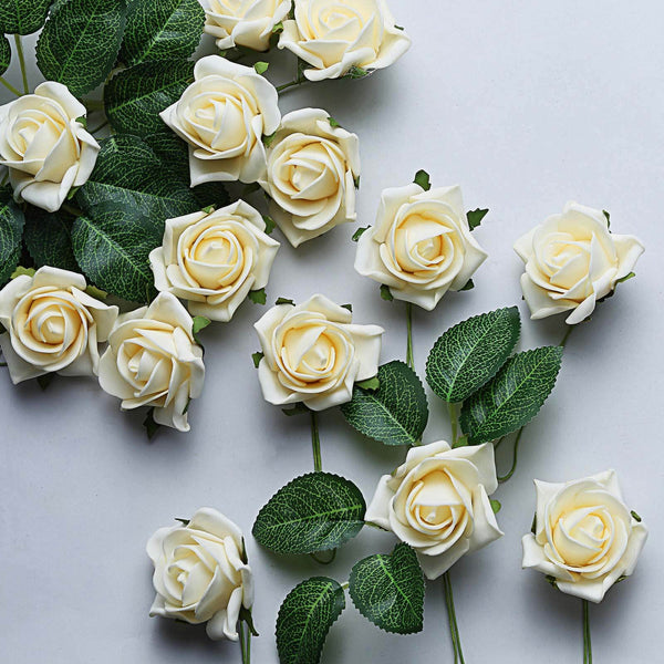 "24 Pcs | 2"" Cream Foam Rose With Stem And Leaves - 16 Colors"