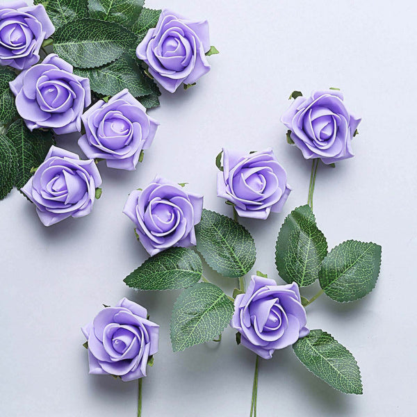 "24 Pcs | 2"" Lavender Foam Rose With Stem And Leaves - 16 Colors"