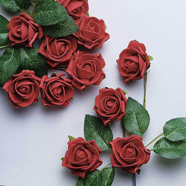 "24 Pcs | 2"" Red Foam Rose With Stem And Leaves - 16 Colors"