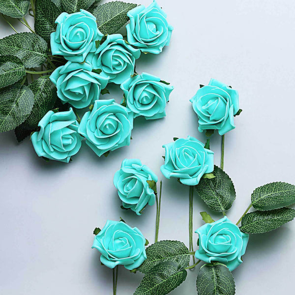 "24 Pcs | 2"" Turquoise Foam Rose With Stem And Leaves - 16 Colors"
