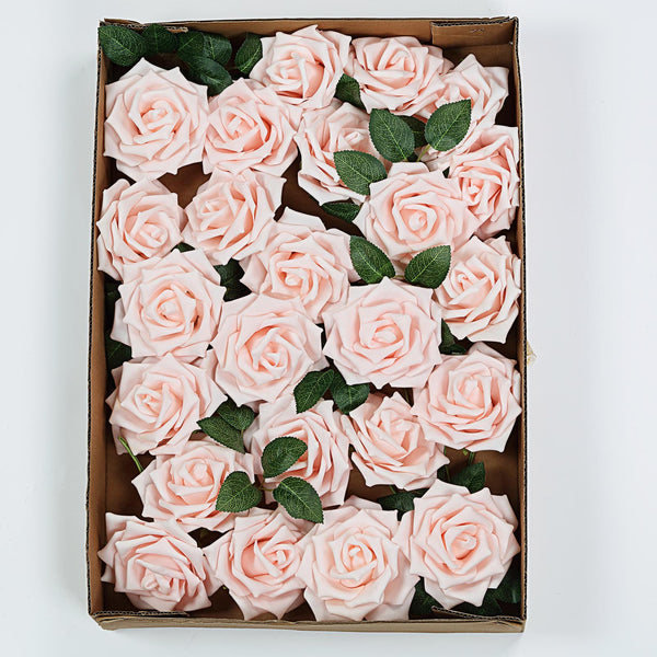 "24 Pcs | 5"" Rose Gold/Blush Foam Rose With Stem And Leaves - 16 Colors"