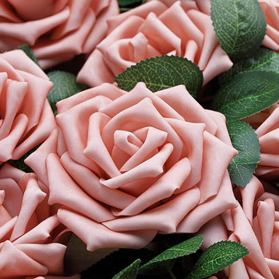 24 PCS 5 inch Dusty Rose Real Touch DIY Foam Rose Flowers With Stems And Leaves