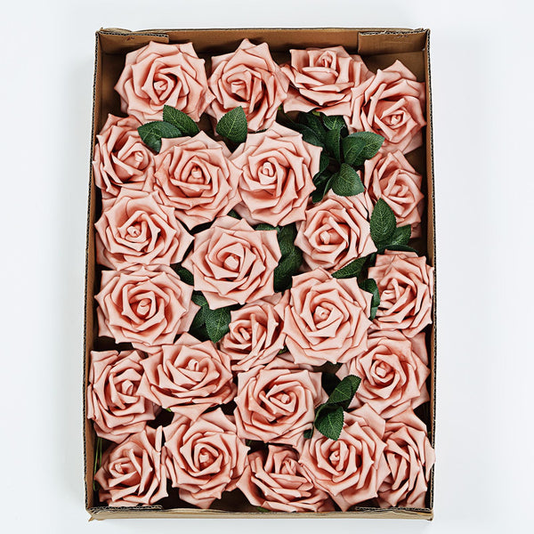 "24 Pcs | 5"" Dusty Rose Foam Rose With Stem And Leaves - 16 Colors"