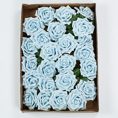 24 PCS 5 inch Dusty Blue Real Touch DIY Foam Rose Flowers With Stems And Leaves