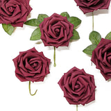 24 PCS 5 inch Burgundy Real Touch DIY Foam Rose Flowers With Stems And Leaves