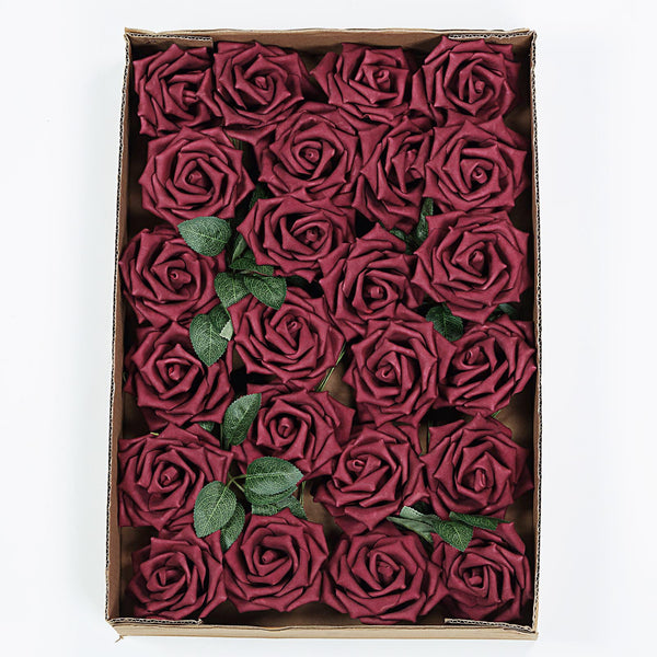 "24 Pcs | 5"" Burgundy Foam Rose With Stem And Leaves - 16 Colors"