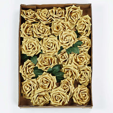 24 PCS 5 inch Gold Real Touch DIY Foam Rose Flowers With Stems And Leaves