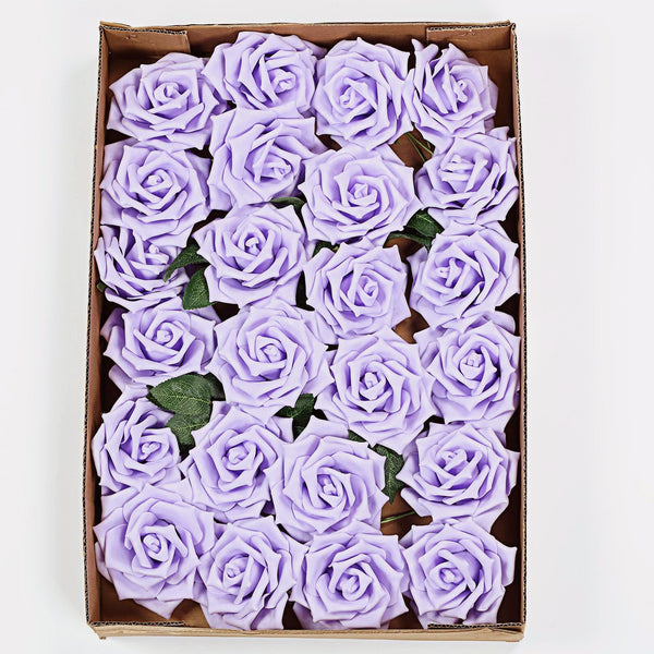 "24 Pcs | 5"" Lavender Foam Rose With Stem And Leaves - 16 Colors"