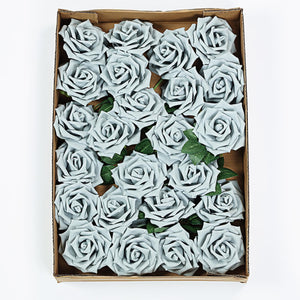 24 PCS 5 inch Silver Real Touch DIY Foam Rose Flowers With Stems And Leaves