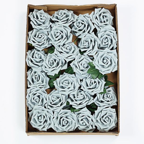 "24 Pcs | 5"" Silver Foam Rose With Stem And Leaves - 16 Colors"