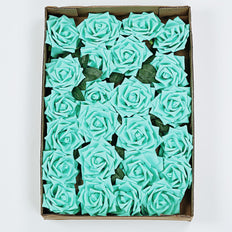 24 PCS 5 inch Turquoise Real Touch DIY Foam Rose Flowers With Stems And Leaves