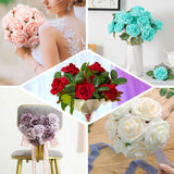 "24 Pcs | 2"" Silver Foam Rose With Stem And Leaves - 16 Colors"