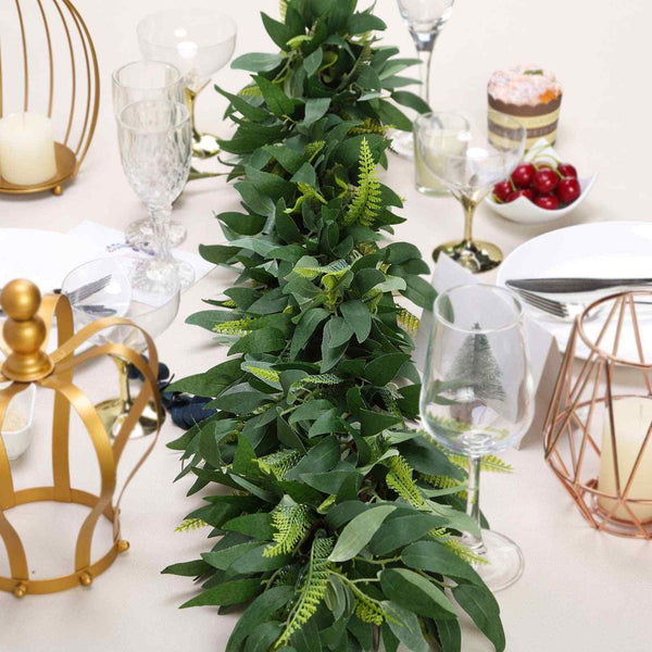 4FT | Real Touch Willow & Frond Leaves Green Artificial Garland