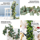 6.5FT | Frosted Real Touch Eucalyptus & Boxwood Leaves Green Artificial Garland Vines