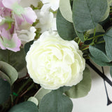4 FT Frosted Green Artificial Eucalyptus Leaves Garland With Ranunculus Flowers