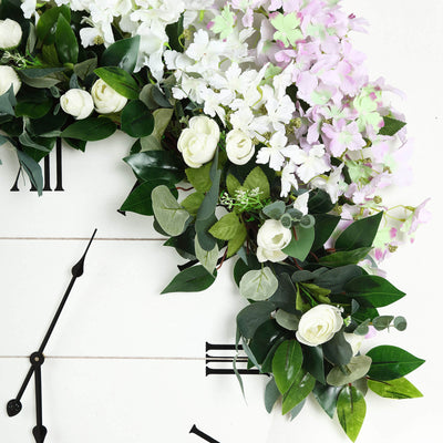 4 FT | Real Touch Green Eucalyptus & Willow Leaves Garland With Ranunculus Flowers