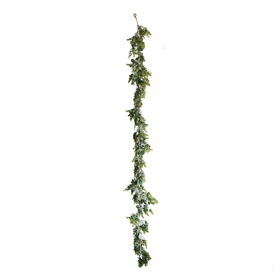 5 FT | Real Touch Eucalyptus & Boxwood Leaves Green Artificial Garland Vines