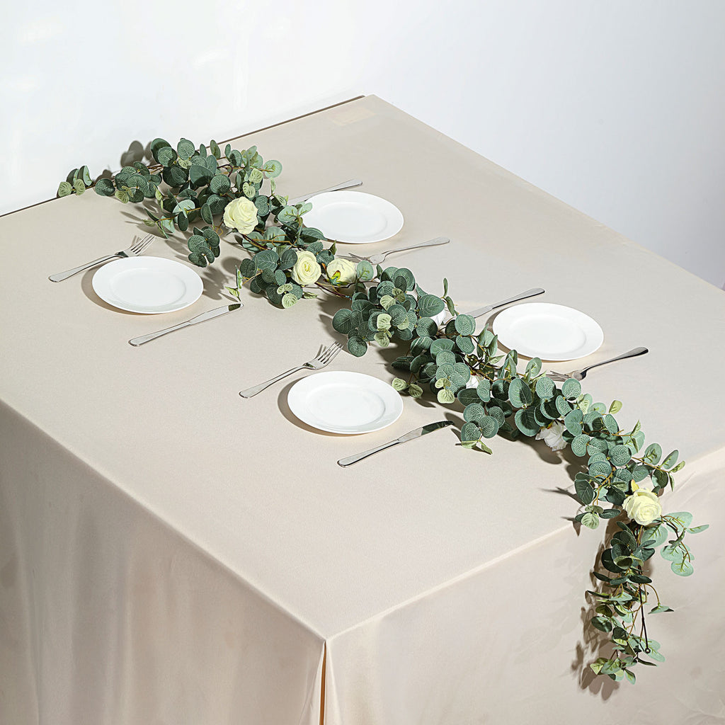 Frosted Green Eucalyptus Garland With Ivory Roses Tableclothsfactory