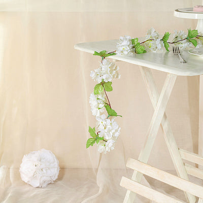 2 Pack | 7FT Cream Artificial Cherry Blossom Silk Flower Garland, UV Protected Waterproof Hanging Vines