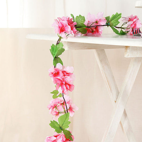 2 Pack | 7FT Pink Artificial Cherry Blossom Silk Flower Garland, UV Protected Waterproof Hanging Vines
