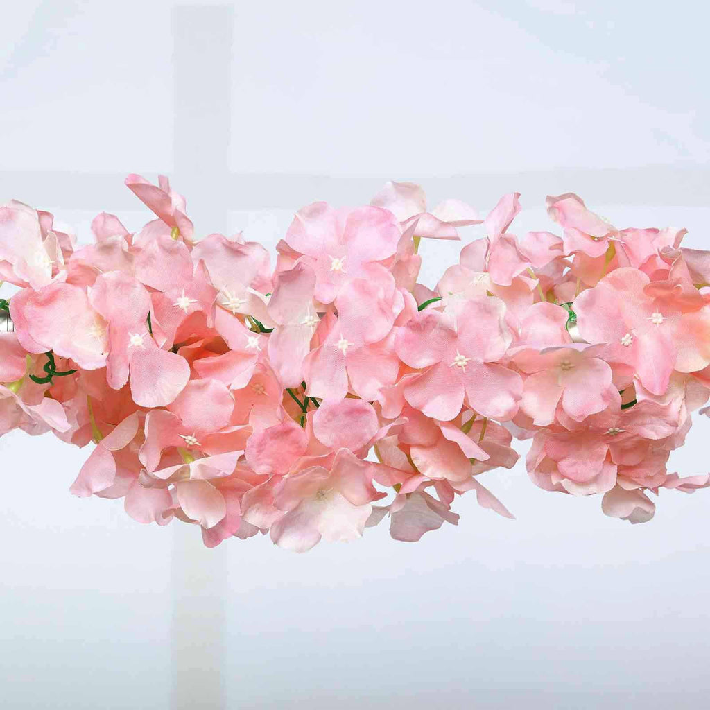 7 Ft Blush Rose Gold Silk Hydrangea Artificial Flower Garland