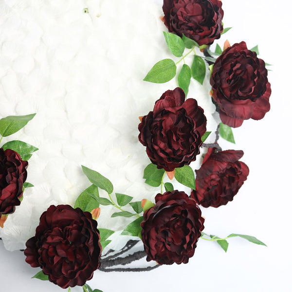 6FT | Burgundy | 14 Flowers Silk Peony Garland | Bendable Wire Vines | Artificial Flower Garlands