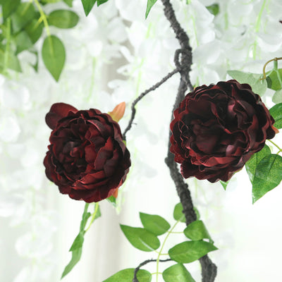 6 FT Burgundy Silk Peony Flowers Garland | Artificial Wedding Garland | 14 Flowers