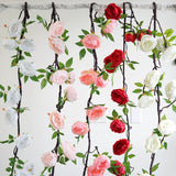 6 ft | Blush | Silk Peony Garland | Bendable Wire Vines | Artificial Flower Garlands with Leaves