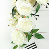 6 ft | Cream | Silk Peony Garland | Bendable Wire Vines | Artificial Flower Garlands with Leaves