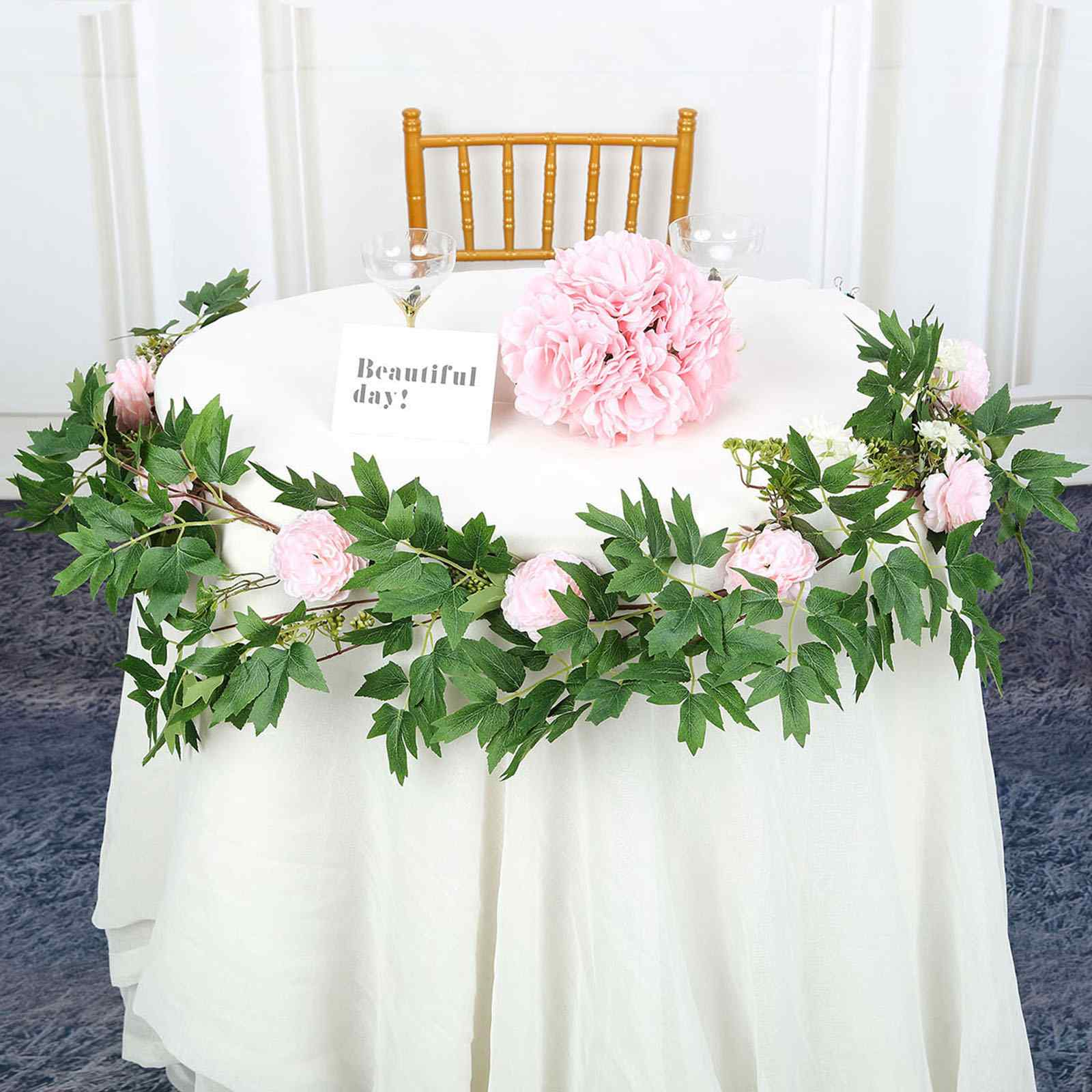 BLUSH 6 ft long Silk Peony Flowers Garland with Leaves and Bendable Wire Vines