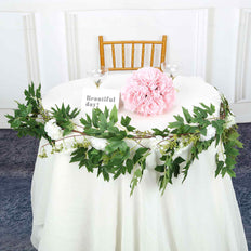 6 ft | White | 7 Flowers | Silk Peony Garland | Bendable Wire Vines | Artificial Flower Garlands with Seeds and Leaves