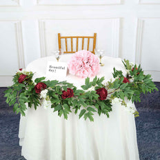 6 ft | Burgundy | 7 Flowers | Silk Peony Garland | Bendable Wire Vines | Artificial Flower Garlands with Seeds and Leaves