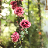 6 ft | Dusty Rose | 13 Flowers | UV Protected Silk Rose Garland | Bendable Wire Vines | Artificial Flower Garlands with Leaves