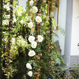 6 ft | Cream | 13 Flowers | UV Protected Silk Rose Garland | Bendable Wire Vines | Artificial Flower Garlands with Leaves
