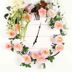 6 ft | Pink | Silk Rose Garland | Bendable Wire Vines | Artificial Flower Garlands with Leaves