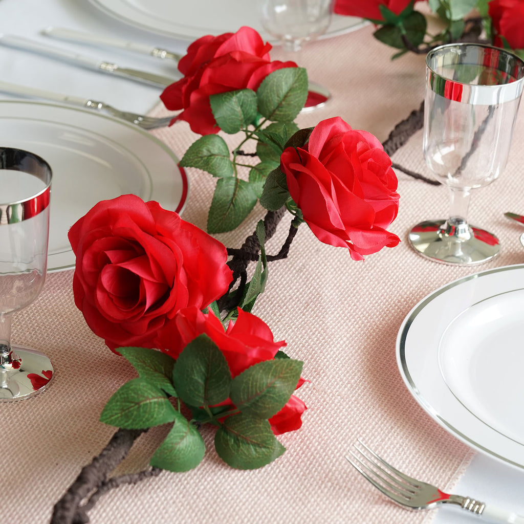 """bendable Silk Rose Flower String with Leaves Red//White 70/"""" long wire based"""