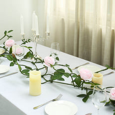 6FT Long Blush Real Touch Rose Garland With 5 Big Roses | Wedding Garland Centerpiece
