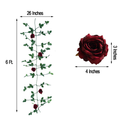 6 ft Long Burgundy Real Touch Rose Garland With 5 Big Roses | Wedding Garland Centerpiece