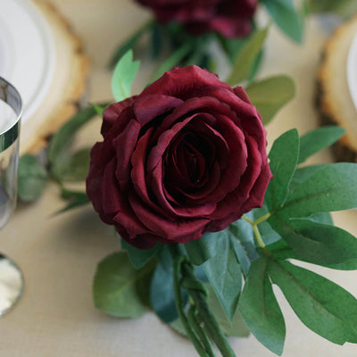6FT Long Burgundy Real Touch Rose Garland With 5 Big Roses | Wedding Garland Centerpiece