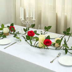 6FT Long Red Real Touch Rose Garland With 5 Big Roses | Wedding Garland Centerpiece
