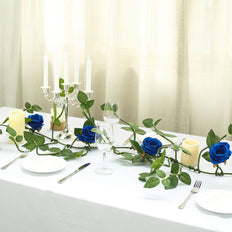 6FT Long Royal Blue Real Touch Rose Garland With 5 Big Roses | Wedding Garland Centerpiece