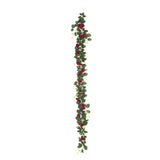 6 ft | Burgundy | 20 Flowers | UV Protected Silk Rose Garland | Bendable Wire Vines | Artificial Flower Garlands with Leaves