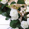 6 ft | Cream | 20 Flowers | UV Protected Silk Rose Garland | Bendable Wire Vines | Artificial Flower Garlands with Leaves