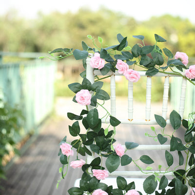6 ft | Pink | 20 Flowers | UV Protected Silk Rose Garland | Bendable Wire Vines | Artificial Flower Garlands with Leaves