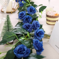 6 ft | Royal Blue | 20 Flowers | UV Protected Silk Rose Garland | Bendable Wire Vines | Artificial Flower Garlands with Leaves