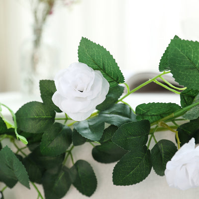 6 ft | White | 20 Flowers | UV Protected Silk Rose Garland | Bendable Wire Vines | Artificial Flower Garlands with Leaves