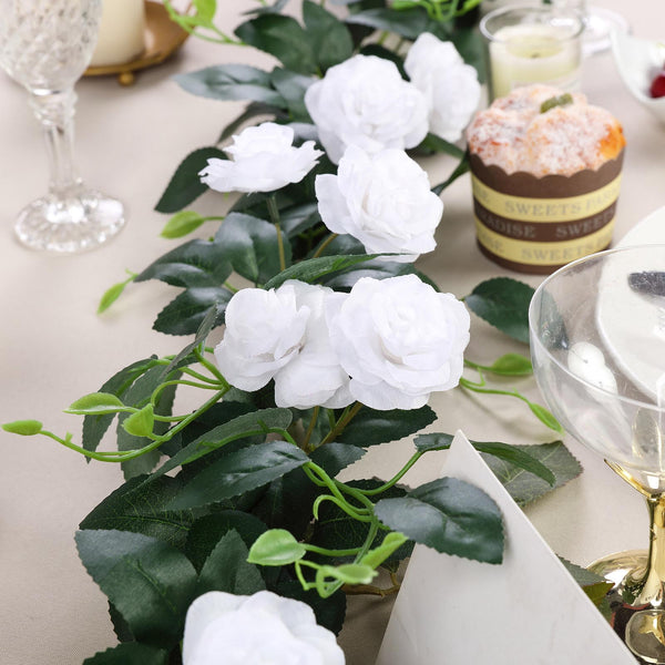 6FT | White | 20 Flowers | UV Protected Silk Rose Garland | Bendable Wire Vines | Artificial Flower Garlands with Leaves