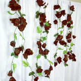 4 Pack 24 Ft Chocolate UV Protected Supersized Rose Chain Artificial Flower Garland