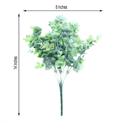 "3 Bushes | 14"" Frosted Green Flexible Faux Eucalyptus Stems 